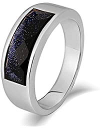 Aooaz Gioielli anello fascia anello acciaio uomo outlet-gioielli Gemma rettangolare anello gotico anelli fidanzamento anello biker