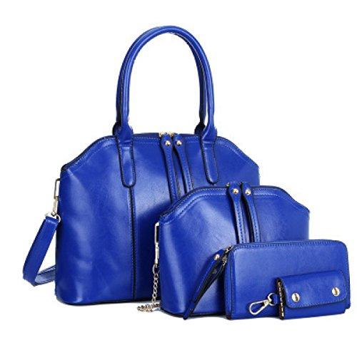Donna Elegante Moda Tre Pezzi Nuovo Borsa A Tracolla Singola Borsa A Tracolla Inclinata Temperamento Colore Solido Borsa Blue