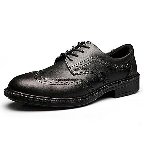 Herren Leder Brogue Oxford Kleid Schuh Lace Up JACKBAGGIO 8801 (7 UK / 41 EU, schwarz)