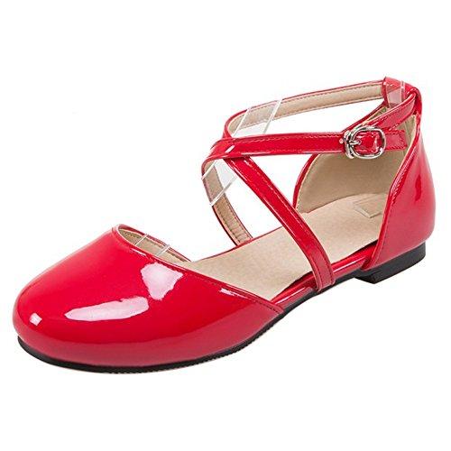 COOLCEPT Damen Mode Kreuz Sandalen Flach Geschlossene Schuhe Gr Rot