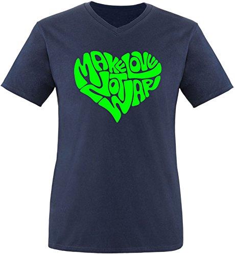 EZYshirt® Make love not war Herren V-Neck T-Shirt Navy/Neongrün
