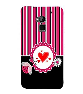 HTC One Max :: HTC One Max Dual SIM red heart, white circle, black white pink line, white flower Designer Printed High Quality Smooth hard plastic Protective Mobile Case Back Pouch Cover by Paresha