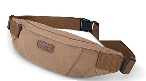 Everdoss Hommes sac banane en toile sac de poitrine sac de fesse sac de téléphone portable sac de sport de loisirs