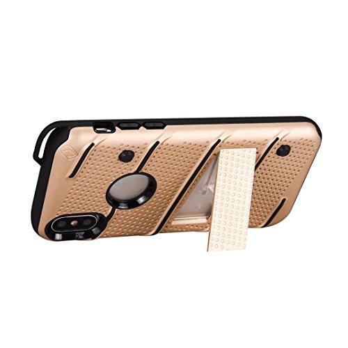 Neue stilvolle Hybrid-Rüstung Schutzhülle Case Shockproof Dual Layer PC + TPU Rückseitige Abdeckung mit Kickstand für [Shock Absorbtion] für iPhone X ( Color : Rosegold ) Gold