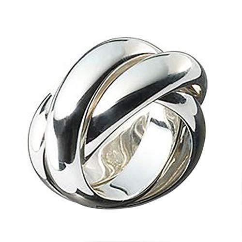 massiver 3er Ring - hochwertige Goldschmiedearbeit aus Deutschland (Sterling Silber 925) 10 mm breit- Rollring - Spielring - Dreierring - 3-fach Ring - Dreier Ring - 3-er Ring - Damenring - Herrenring