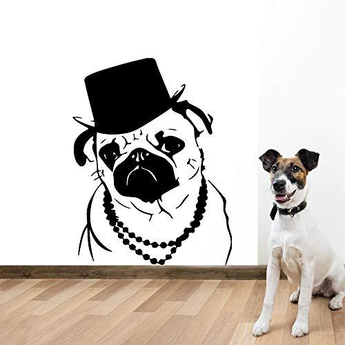 HNXDP Kunst Hund Wandaufkleber Entfernbare Wandaufkleber Diy Tapete Kinderzimmer Vinyl Aufkleber Wohnzimmer Dekoration Rot L 43 cm X 55 cm -