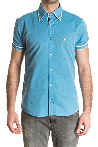 di-prego-camisa-de-hombre-manga-corta-color-turquesa-con-vivos-en-cuello-y-mangas-talla-s