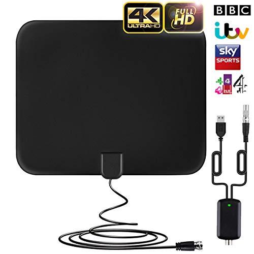 Antenne TV Intérieur Puissante Amplifiée 70+ Miles Range Antenne TNT Numérique Intérieur avec Signal Amplificateur Booster with 16FT Câble Coaxial, Soutien Smart TV HD 4K 1080P VHF UHF 2019 Version