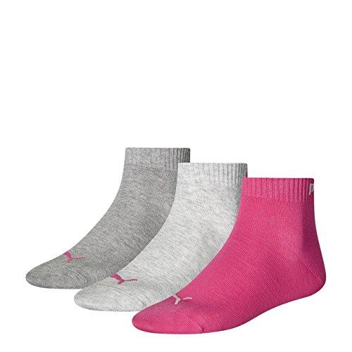 Puma Socken Quarter 3P middle grey melange / pink (656)