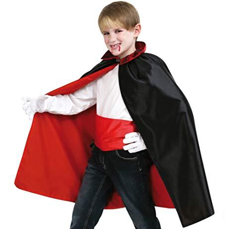 KarnevalsTeufel Kinderkostüm Umhang mit Schärpe Cape mit Knopf am Kragen, Gürtel in Rot Vampirlook (140)