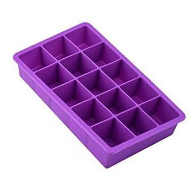 Milopon Eiswürfelformen Eiswürfelform Eiswürfelschale aus Silikon Eiswürfel Box Eiswürfel Silikonformen Whiskyquadrate Eiswürfelbereiter Eiswürfelschale 15 pro Schale (Lila) -