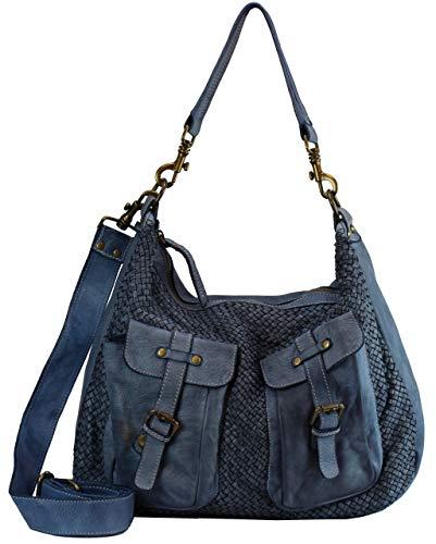 BZNA Bag Emma Blau blue Italy Designer Damen Handtasche Schultertasche Tasche Schafsleder Shopper Neu