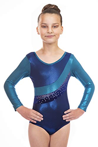 f6b93789c Vincenza Dancewear Jazmin Girls Long Sleeved Leotard for Gymnastics (Blue,  9-10 Years