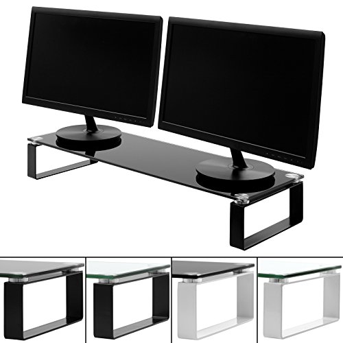 Hartleys Large 80cm Glass Monitor Riser Stand with Block Legs - Choice of Size & Colour