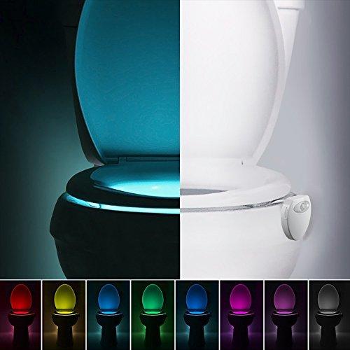 Détecteur de mouvement LED Lumière de toilette, NEWNEN 8 couleurs USB Charge Bol de toilette Lumière de toilette de toilette activée s'adapte à toutes les toilettes (lot de 2)