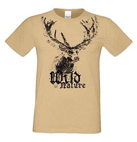 Trachtenshirt : Wild Nature : Herren Trachten T-Shirt : Hirsch Motiv Oktoberfest Volksfest Outfit für Männer : Übergrößen bis 5XL Farbe: Sand Gr: 4XL