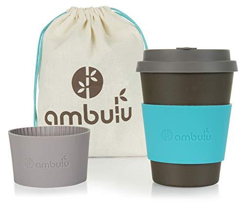 Taza de café reutilizable para viajes y para llevar a cabo 350 ml, taza de bambú portátil con tapa, 2 fundas, bolsa de transporte, plástico y sin BPA, apta para lavavajillas, tazas ecológicas