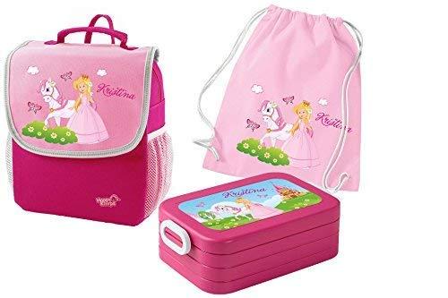 *Mein Zwergenland Set 4 Kindergartenrucksack mit Brotdose und Turnbeutel aus Baumwolle Happy Knirps Next mit Name Prinzessin, 3-teilig, Pink*