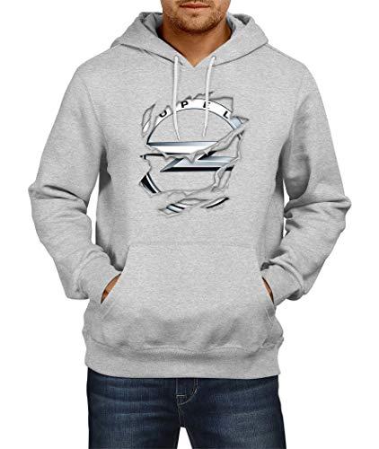 Sweatshirt OPEL Torn 2 Logo Hoodie Herren Men Car Auto Tee Black Grey Long Sleeves Present Christmas (XL, Grey)