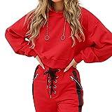Sweatshirt Damen,Geili Frauen Casual Einfarbig Lange Hülsen mit Kapuze Sweatshirt Mode Rot Crop Tops Tunika Hoodie Bluse Langarm Sportoberteil