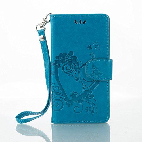 Coque Etui Housse Luxe Stand et Portefeuille Huawei Honor 4C / G Play Mini, Cozy Hut® Fleurs En Forme De Coeur Motif Design pour Huawei Honor 4C / G Play Mini,imprimé étui en cuir PU Cuir Flip Magnéti bleu