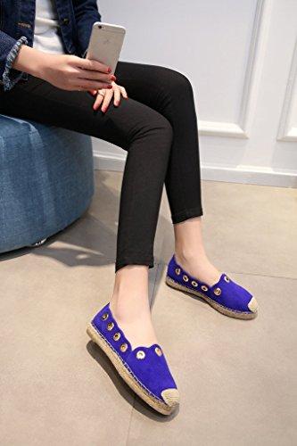 RoseG Damen Handgefertigt Leder Flats Slipper Halbschuhe Blau-3