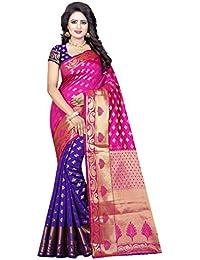 Maahik Women's Kanchipuram Silk Saree With Blouse Piece (SWMK1323_Pink & Purple)