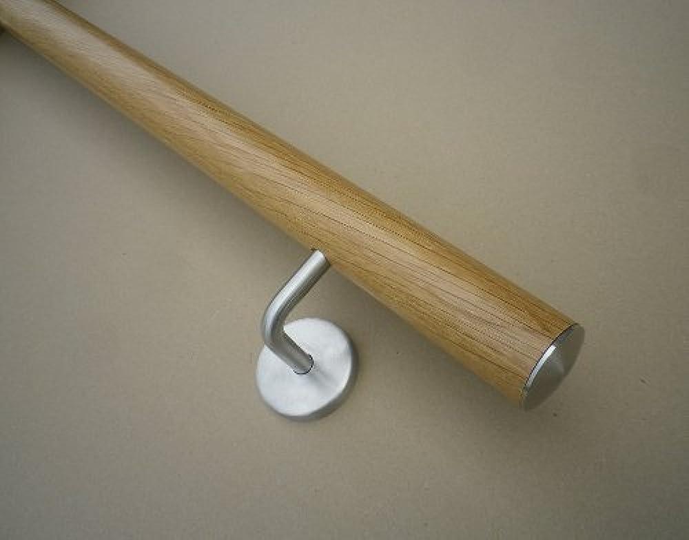 Handlauf Eiche /Ø42mm mit Edelstahlhalter und leicht gew/ölbter Edelstahlendkappen verschiedene L/ängen Eiche 190cm 3 Edelstahl-Halter
