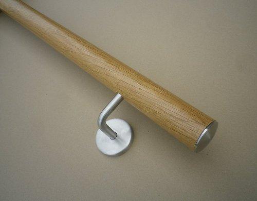 Handlauf Eiche Ø42mm mit Edelstahlhalter und leicht gewölbter Edelstahlendkappen (verschiedene Längen) (Eiche 150cm 3 Edelstahl-Halter)