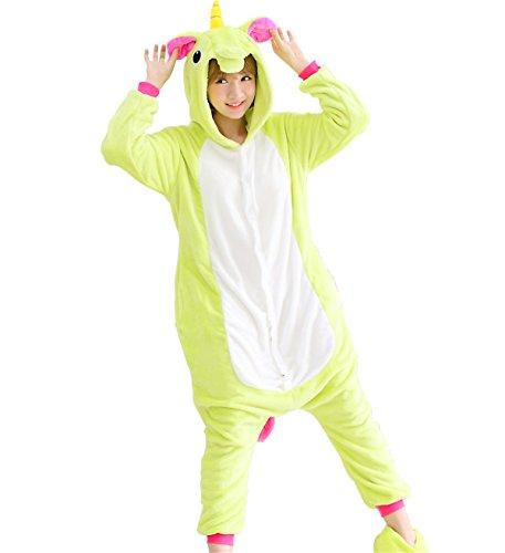 Triseaman Erwachsene Halloween Cosplay Pyjama Einhorn Kostüm Onesie Freizeitkleidung 13 Farben Grün Pegasus (Einhorn Ziel Kostüm)
