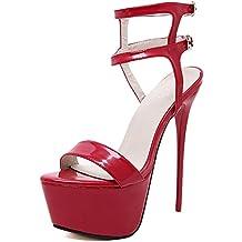 snfgoij Donna Sandalo Strappy Alto Tacco Scarpe Peep Toe Party Estive Fine  con Piattaforma Impermeabile Nightclub ec5bc176dcc