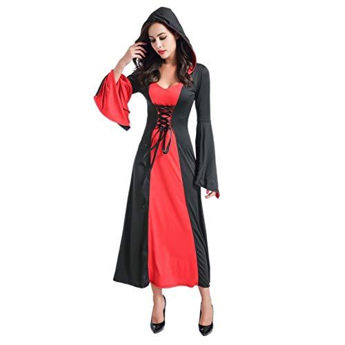 Shiningbaby Halloween Frauen Kapuzen Kleid Cosplay Party Bandage Langarm Retro Königin Kostüme