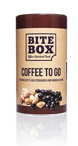 BiteBox Coffee to Go | Leckere und knackige schokolierte Kaffeebohnen mit Zartbitterschokolade und Cappuccino-Mandeln mamoriert mit weißer Schokolade | 580g Dose M | Kaffee ohne Kaffeemaschine