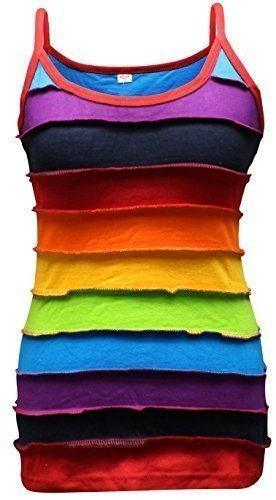 Shopoholic Fashion Rainbow gestreift Damen Tank Top, Bunt Hippy Damen Oberteil - Regenbogenforelle, Regenbogenforelle, XX-Large (Damen Rainbow Tank Top)