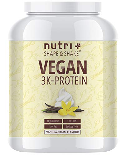 Protein Vegan Vanille 1kg | 84,6% Eiweiß | 3k-Proteinpulver | Nutri-Plus Shape & Shake | Low-Carb Eiweißpulver ohne Lactose & Milcheiweiß | In Deutschland hergestellt - Whey Protein Booster Schokolade