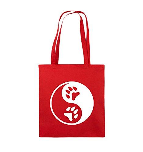 Comedy Bags - YING YANG - PFOTE2 - Jutebeutel - lange Henkel - 38x42cm - Farbe: Schwarz / Pink Rot / Weiss