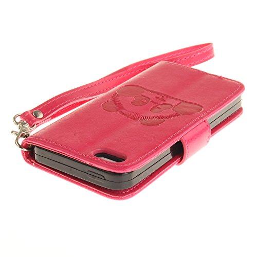 Für iPhone SE/Für iPhone 5/5S Gurt Strap Magnetverschluß Ledertasche Hülle,Für iPhone SE/Für iPhone 5/5S Premium Seil Leder Wallet Tasche Brieftasche Schutzhülle,Funyye Stilvoll Jahrgang [Niedlicher r Panda,Rot