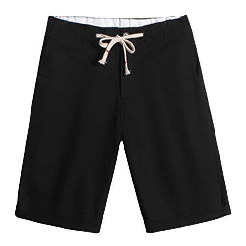 CHENGYANG Herren Große Größe Boardshorts Kordelzug Sommer Shorts mit Taschen Schwarz