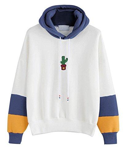 FORH Damen Tops Kaktus Drucken Sweatshirt Stilvoll Kapuzenpullover Bluse Lange Hülse Mit Kapuze Pullover Bluse (S, Blau)