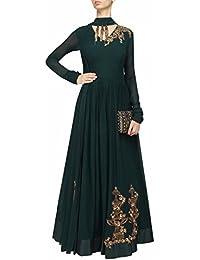 C&H Green Georgette Embroidery Designer Anarkali Suits