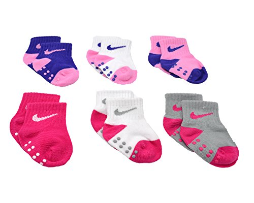 Baby Bucket Prewalkers foldup stretchable Skid-Resistant Soft Cotton Baby 6pc Socks Set (4-8 Months, Multicolor Pink-1)