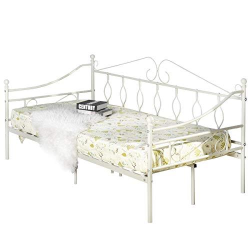Aingoo Tagesbett Metallbett mit Bettrahmen für Schlafzimmer Wohnzimmer Balkon (Creme weiß)