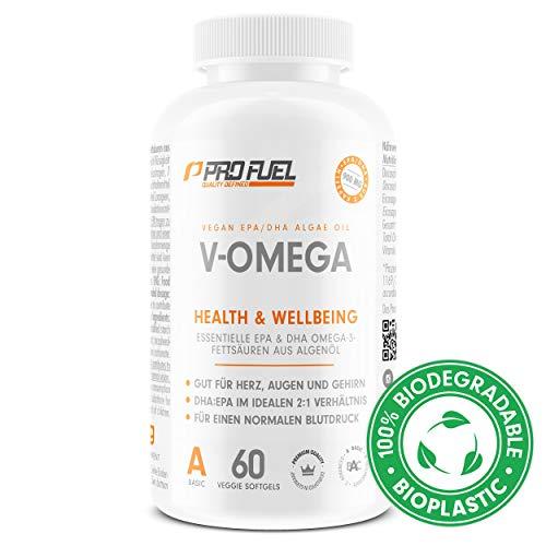 Vegan Omega 3 Kapseln hochdosiert | Hochwertiges Omega 3 vegan mit hohem EPA & DHA Gehalt - besser als Fischölkapseln! V-OMEGA 60 Kapseln