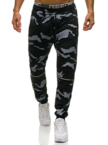 BOLF Herren Sporthose Trainingshose Army Military Muster RED FIREBALL W1600 Schwarz L [6F6] (Training Camo Hosen)