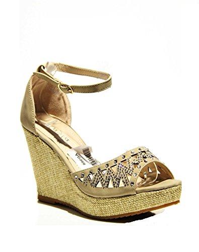 Damen Riemchen Sandaletten Pumps Keilabsatz Keilpumps High Heels Peep Toes Schuhe AB988 Beige