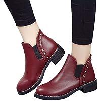 Sonnena bota corta martin - Zapatos planos de mujer remaches Martin Boots Botines de cuero con punta redonda
