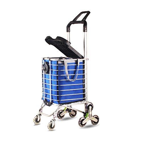 Carritos de la compra Carro de compras plegable multifuncional del carro de la compra del carro de la compra de aluminio del hogar, llevando cerca de 100kg, los 40 * 21 * 93cm ( Color : Blue )