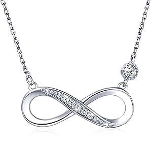 """925 Sterling Silber Halskette – Billie Bijoux""""Endless Love"""" Infinity Herz Anhänger weißes Gold überzogene Diamant Frauen einstellbare Halskette"""
