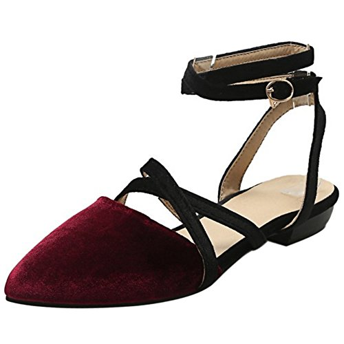 COOLCEPT Femme Mode Croise lacets sandales Plat Slingback Bout Ferme Chaussures taille Rouge