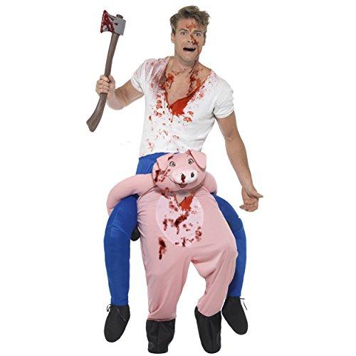 Oramics Halloween außergewöhnliches Kostüm Schwein Huckepack, Trag Mich Piggyback mit Beinen inklusive Kunstblut-Spray und Deko-Axt (Huckepack Halloween Kostüm)